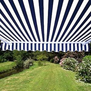 ALEKO AWM16X10BLWHSTR03 Retractable Motorized Patio Awning 16 x 10 Feet Blue and White Striped