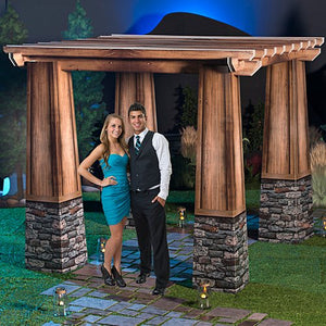 7 ft. 10 in. Rustic Garden Pergola Prom Standup Photo Booth Prop Background Backdrop Party Decoration Decor Scene Setter Cardboard Cutout