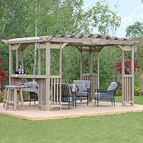 Mm Cedar Pergola Gazebo With Bar Counter And Sunshade In