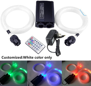 32W Fiber Optic Star Ceiling Kit Light, LED White Color Only Double Head Engine Driver with RF 28 Key Remote Control, Cables 0.03in/0.75mm 0.04in/1mm 0.06in/1.5mm 0.08in/2mm 9.8ft/3m 1200pcs