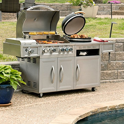 MM Gas & Kamado Combo Grill 4 Burners, Side Searing Burner and Motorized Rostisserie, Stainless Steel Includes Grill Cover