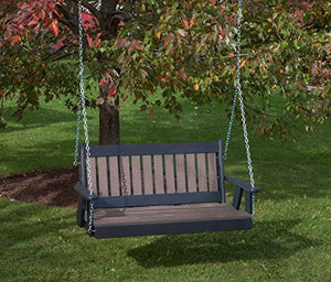 5FT-WEATHERED WOOD-POLY LUMBER Mission Porch Swing Heavy Duty EVERLASTING PolyTuf HDPE - MADE IN USA - AMISH CRAFTED