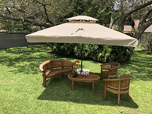 Terrazza 10-Foot Offset Cantilever Solar Powered LED Lighted Outdoor Patio Umbrella Square Parasol Infinite Tilt Position with Cross Base Beige