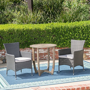 Great Deal Furniture Lori Outdoor 3 Piece Wood and Wicker Bistro Set, Gray and Gray