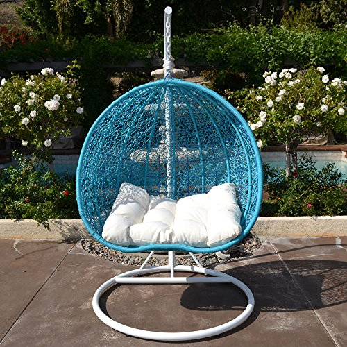 White TURQUOISE Egg Shape Wicker Rattan Swing Chair Hanging Hammock 2 Person 418