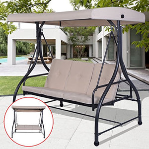 TANGKULA Converting Outdoor Swing Canopy Hammock 3 Seats Patio Deck Furniture (Beige)