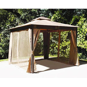 10 x 10 Square Post Gazebo Replacement Canopy Top Cover and Netting - RipLock 350