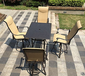 5pc Cast Aluminum Swivel Sling Patio Bar Furniture Set