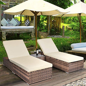 TANGKULA 3 Piece Chaise Lounge Chair Set Patio Wicker Chaise Furniture Set (Dark Brown)