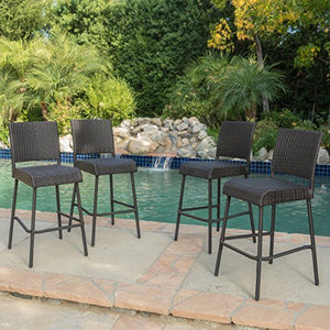 Christopher Knight Home 299570 Neal Outdoor Wicker Barstools (Set of 4), Dark Brown