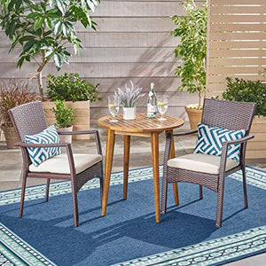 Great Deal Furniture Babb Outdoor 3 Piece Wood and Wicker Bistro Set, Teak Finish and Brown