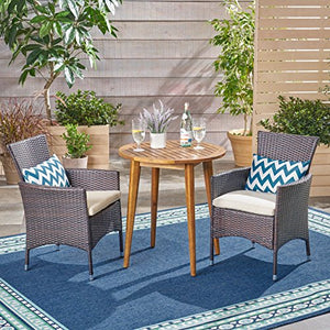Great Deal Furniture Land Outdoor 3 Piece Wood and Wicker Bistro Set, Teak Finish and Multi Brown