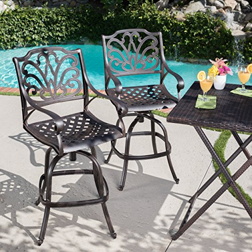 Christopher Knight Home 301285 Alfresco Outdoor Cast Aluminum Barstools, Bronze