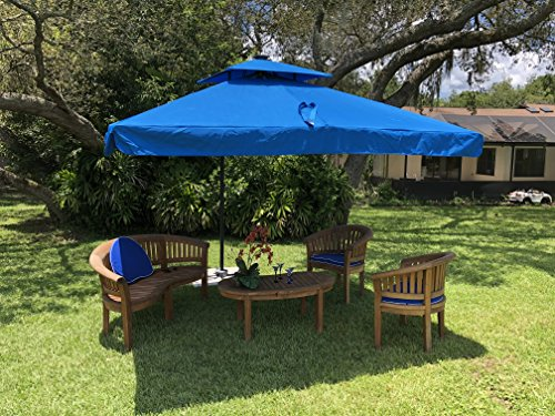 Terrazza 10-Foot Offset Cantilever Solar Powered LED Lighted Outdoor Patio Umbrella Square Parasol Infinite Tilt Position with Cross Base Blue