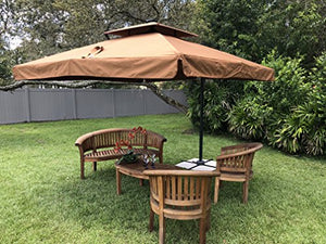 Terrazza 10-Foot Offset Cantilever Solar Powered LED Lighted Outdoor Patio Umbrella Square Parasol Infinite Tilt Position with Cross Base Brown