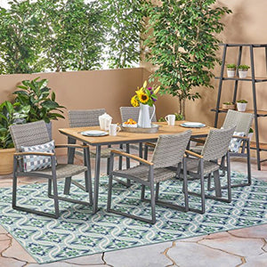Great Deal Furniture Loren Outdoor 7 Piece Aluminum and Wicker Dining Set with Wood Top, Natural Finish and Gray