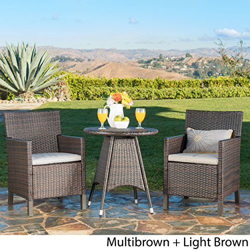 Great Deal Furniture Shiny Outdoor 3 Piece Multibrown Wicker Round Dining Set with Light Brown Water Resistant Cushions