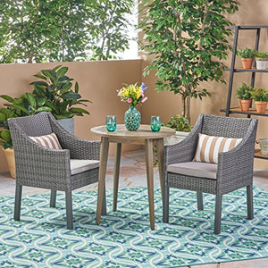 Great Deal Furniture Katz Outdoor 3 Piece Wood and Wicker Bistro Set, Gray and Gray