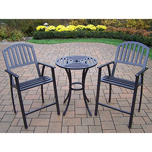 Oakland Living Corporation Hometown Outdoor 3-Piece Bar Stool and Table Set