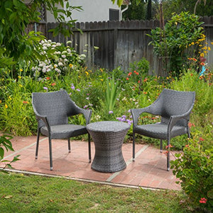 Christopher Knight Home 300968 3 Piece Mirage Outdoor Wicker Stacking Chair Chat Set, Grey