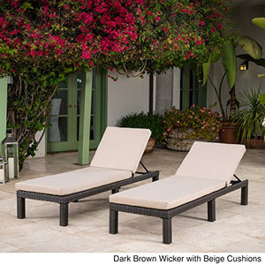 Venice Outdoor Dark Brown Wicker Chaise Lounge with Beige Water Resistant Cushion (Set of 2)