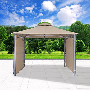 "Cloud Mountain Outdoor Gazebo Patio Gazebo With Two Side Sunshade Walls Privacy Curtain Patio BBQ 2 Tiered Canopy 130"" x 130"" Gazebo Vented Double Roof Polyester Fabric, Sand"