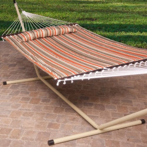 2 Person Free Standing Hammock, 13 Ft. Sienna Stripe Quilted Hammock with Steel Stand & Pillow