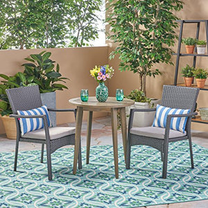 Great Deal Furniture Kearns Outdoor 3 Piece Wood and Wicker Bistro Set, Gray and Gray