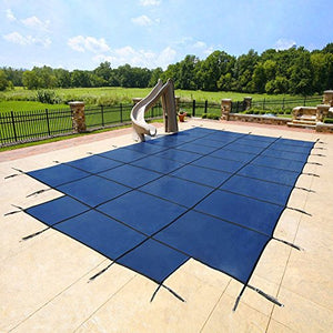 18'x36' Blue Mesh - CES Rectangle Inground Safety Pool Cover - 15 Year Warranty - 18 ft x 36 ft In Ground Winter Cover with 4'x8' Center End Steps