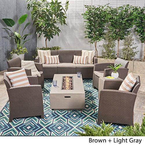 Great Deal Furniture Ken Outdoor 7-Seater Chat Set with Fire Pit, Brown and Mixed Beige and Light Gray