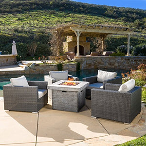 GDF Studio | Soleil | Outdoor 4 Piece Wicker Club Chair Set with Square Fire Pit | in Grey/White Cushions