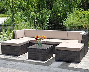 Wisteria Lane 7 Piece Outdoor Wicker Sofa, Patio Furniture Set Garden  Rattan Sofa Cushioned Seat with Coffee Table,Gray