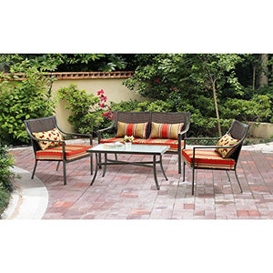 Alexandra Square 4-Piece Outdoor Bistro Set Red Stripe with Butterflies Seats, 4