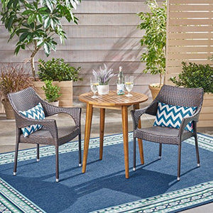 Great Deal Furniture Richter Outdoor 3 Piece Wood and Wicker Bistro Set, Teak Finish and Multi Brown