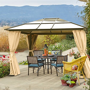 10' x 12' Hard Roof Patio Gazebo Aluminum Poles Heavy Duty Structure