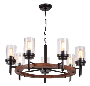 "28"" Wood Round Ceiling Light Fixture, Rustic Farmhouse Chandeliers Pendant for Dining Rooms Rustic (28"" /7 Lights)"