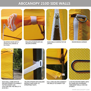 (18+colors)ABCCANOPY Deluxe 10x20 Pop up Canopy Outdoor Party Tent Commercial Gazebo with Enclosure Walls and Wheeled Carry Bag Bonus 6x Weight Bag and 2x Half Walls and 1x Screen Wall (Yellow)