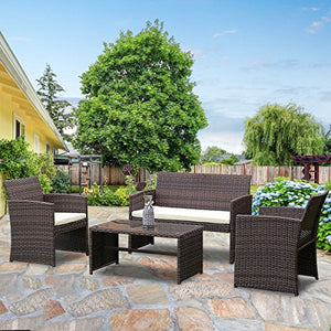 TANGKULA 4 PCS Patio Furniture Outdoor Rattan Wicker Sofa Cushioned Seat Garden Lawn Poolside Sectional Conversation Set with Glass Top Coffee Table