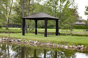 Sojag 500-6160567 Genova Galvanized Steel Roof Sun Shelter, 10' x 10', Dark Brown