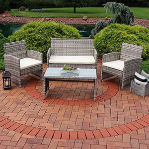 Sunnydaze Lomero 4-Piece Outdoor Lounger Patio Furniture Set with Brown Wicker Rattan and Beige Cushions