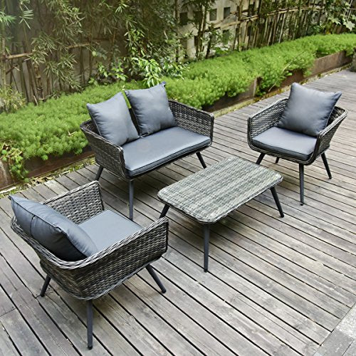 Excellent Pamapic 4 Piece Outdoor Patio Wicker Furniture Sets With Cushions Unique Design With Round Rattan Pe Rattan Outdoor Sectional Sofa And Table With Home Interior And Landscaping Ologienasavecom