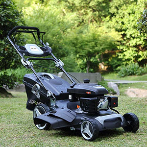 "161cc 21"" Deck 3-in-1 Self-Propelled Gas Lawn Mower Gasoline Push Mower and Recoil Starter, OHV Engine, 10-inch High Wheels Drive, Side Discharge Mulching Rear Bag, Black (21inch)"