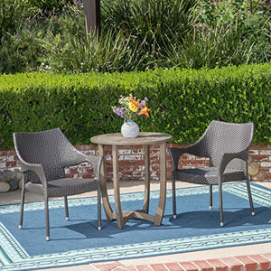Great Deal Furniture Mann Outdoor 3 Piece Wood and Wicker Bistro Set, Gray and Gray