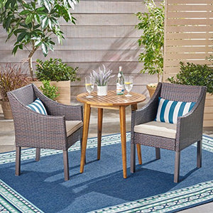 Great Deal Furniture Jean Outdoor 3 Piece Wood and Wicker Bistro Set, Teak Finish and Multi Brown