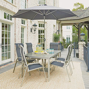 Home Styles 5700-3116 South Beach Rectangular Outdoor Table&6 Chairs,Umbrella&Base, Gray