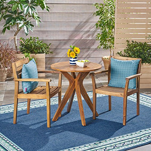 Great Deal Furniture Addison Outdoor 3 Piece Acacia Wood Bistro Set, Teak