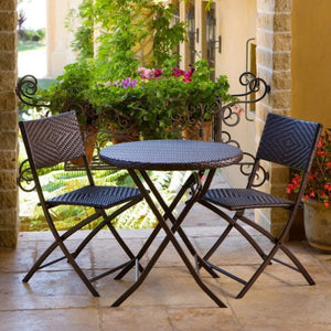 Montova 3 Piece Outdoor Bistro Patio Furniture Set in Espresso