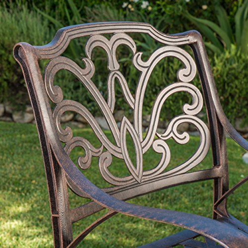 Christopher Knight Home 301286 Alfresco Outdoor Cast Aluminum Barstools (Set of 4), Bronze