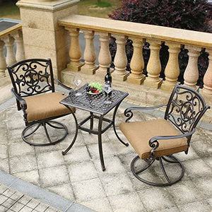 Domi Outdoor Living Traditions 3-Piece Deep-Cushioned Outdoor Bistro Set, Includes 2 Deep Cushioned Swivel-Rockers and Bistro Table