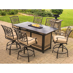 Hanover TRAD7PCFPBR Traditions 7-Piece Rust-Free Aluminum Outdoor Patio High Dining Set with 6 Swivel Chairs, Natural Oat Tan Cushions and 30,000 BTU Rectangular Fire Pit